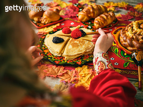 Russian Traditional Blini and Caviar on a Table - gettyimageskorea
