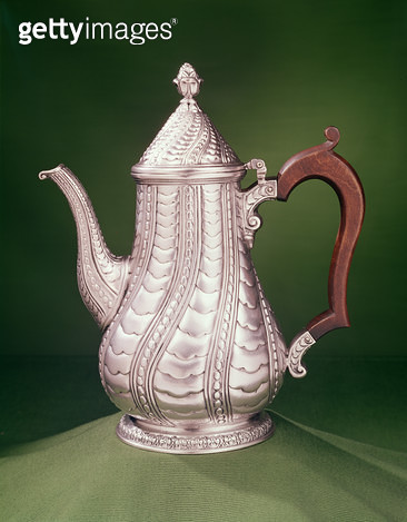 <b>Title</b> : Coffee pot by Paul de Lamerie, c.1745<br><b>Medium</b> : silver<br><b>Location</b> : Private Collection<br> - gettyimageskorea