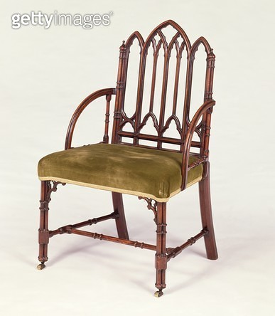 <b>Title</b> : George III mahogany armchair in the Gothic Style, in the manner of Robert Manwaring, c.1765<br><b>Medium</b> : <br><b>Location</b> : Private Collection<br> - gettyimageskorea