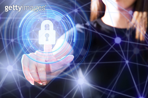 A finger pushing the security system padlock button with gesture interface technology. - gettyimageskorea