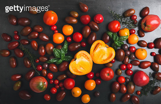 Colorful organic farmer tomatoes background - gettyimageskorea
