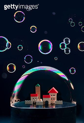 Isolation concept, a tiny city with books under a dome of soap bubbles - gettyimageskorea