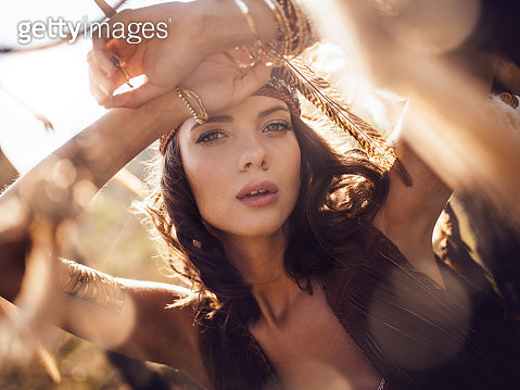 Beauty portrait of a boho girl in afternoon sunlight - gettyimageskorea
