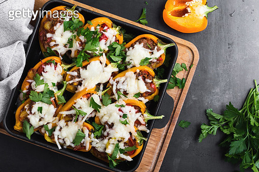 Overhead view of stuffed bell peppers - gettyimageskorea