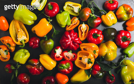 Colorful bell peppers background - gettyimageskorea