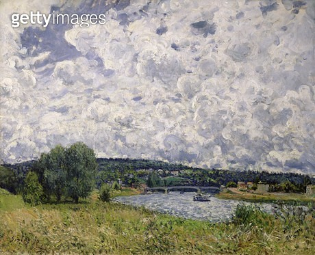 <b>Title</b> : The Seine at Suresnes, 1877 (oil on canvas)<br><b>Medium</b> : oil on canvas<br><b>Location</b> : Musee d'Orsay, Paris, France<br> - gettyimageskorea