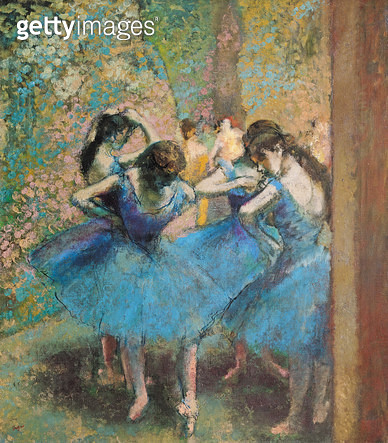 <b>Title</b> : Dancers in blue, 1890 (oil on canvas)<br><b>Medium</b> : oil on canvas<br><b>Location</b> : Musee d'Orsay, Paris, France<br> - gettyimageskorea