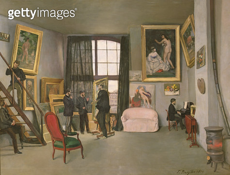 <b>Title</b> : The Artist's Studio, 1870 (oil on canvas)<br><b>Medium</b> : oil on canvas<br><b>Location</b> : Musee d'Orsay, Paris, France<br> - gettyimageskorea