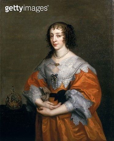 <b>Title</b> : Portrait of Queen Henrietta Maria (1609-69) (oil on canvas)Additional Infowife of Charles I (1600-49);<br><b>Medium</b> : oil on canvas<br><b>Location</b> : Private Collection<br> - gettyimageskorea