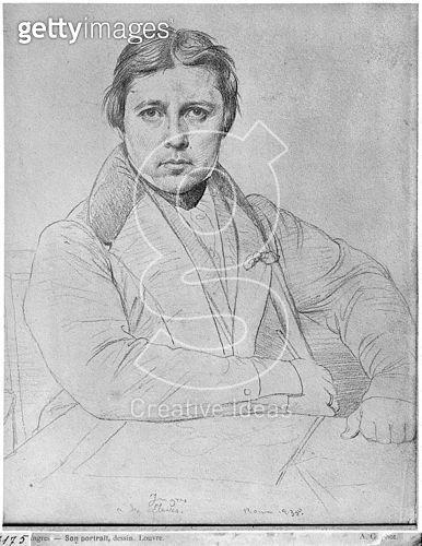 <b>Title</b> : Self Portrait, 1835 (graphite on paper) (b/w photo)<br><b>Medium</b> : graphite on paper<br><b>Location</b> : Louvre (Cabinet de dessins), Paris, France<br> - gettyimageskorea