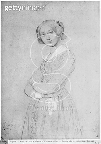 <b>Title</b> : Portrait of Louise d'Haussonville, 1842 (graphite & white highlights on paper) (b/w photo)<br><b>Medium</b> : graphite and white highlights on paper<br><b>Location</b> : Musee Bonnat, Bayonne, France<br> - gettyimageskorea