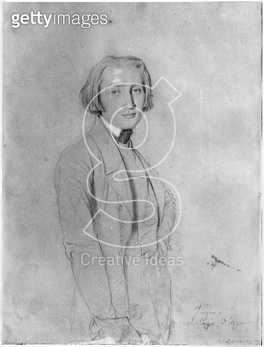 <b>Title</b> : Franz Liszt (1811-86) Rome, 29th May 1839 (graphite & white highlights on paper) (b/w photo)<br><b>Medium</b> : graphite and white highlights on paper<br><b>Location</b> : R. Wagner Museum, Bayreuth, Bavaria, Germany<br> - gettyimageskorea