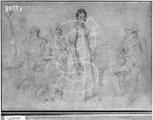 <b>Title</b> : The Forestier Family, 1806 (graphite on paper) (b/w photo) (see also 233242)<br><b>Medium</b> : graphite on paper<br><b>Location</b> : Louvre (Cabinet de dessins), Paris, France<br> - gettyimageskorea