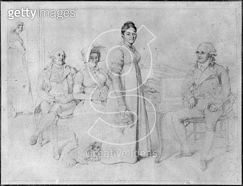 <b>Title</b> : The Forestier Family (graphite on paper) (b/w photo) (see also 233241)<br><b>Medium</b> : graphite on paper<br><b>Location</b> : Musee Ingres, Montauban, France<br> - gettyimageskorea