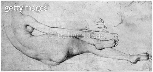 <b>Title</b> : Study for The Grande Odalisque (graphite on paper) (b/w photo) (see also 233244)<br><b>Medium</b> : graphite on paper<br><b>Location</b> : Louvre (Cabinet de dessins), Paris, France<br> - gettyimageskorea