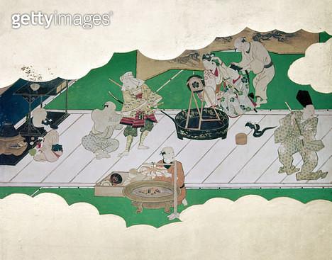 JAPAN: KABUKI ACTORS. /nKabuki actors apply makeup and don costumes for a heroic drama. Scroll painting, 18th century. - gettyimageskorea