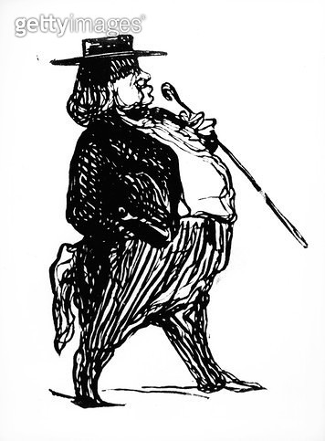 <b>Title</b> : Honore de Balzac (1799-1850) with a cane, probably drawn for the book 'Physiologie du Rentier', c.1841 (ink on paper)<br><b>Medium</b> : <br><b>Location</b> : Private Collection<br> - gettyimageskorea