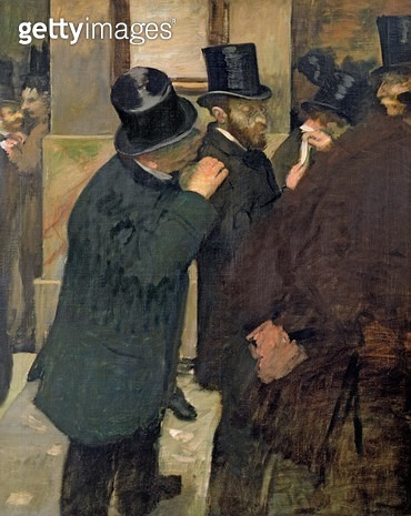<b>Title</b> : At the Stock Exchange, c.1878-79 (oil on canvas)<br><b>Medium</b> : oil on canvas<br><b>Location</b> : Musee d'Orsay, Paris, France<br> - gettyimageskorea