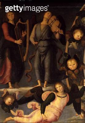<b>Title</b> : Vallombrosa Altarpiece, detail of Angel Musicians<br><b>Medium</b> : <br><b>Location</b> : Galleria dell' Accademia, Florence, Italy<br> - gettyimageskorea