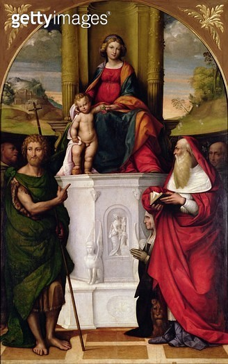 The Virgin Enthroned with St. Jerome and St. John (oil) (see also 33480) - gettyimageskorea