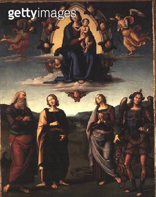 <b>Title</b> : Virgin and Child with Saints, after 1497 (oil on panel)<br><b>Medium</b> : oil on panel<br><b>Location</b> : Pinacoteca Nazionale, Bologna, Italy<br> - gettyimageskorea