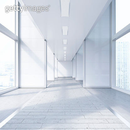 Empty passageway in a modern office building, 3D Rendering - gettyimageskorea