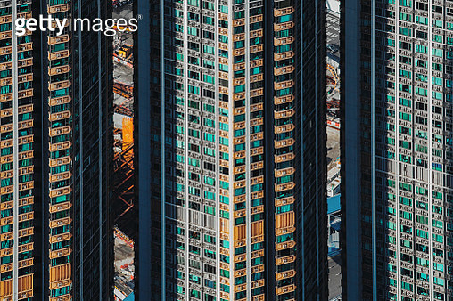 Dense and highrise residential apartment blocks in city - gettyimageskorea