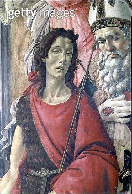 <b>Title</b> : St. John the Baptist, detail from the Altarpiece of St. Barnabas c.1487 (tempera on panel)Additional InfoPala di San Barnaba;<br><b>Medium</b> : tempera on panel<br><b>Location</b> : Galleria degli Uffizi, Florence, Italy<br> - gettyimageskorea