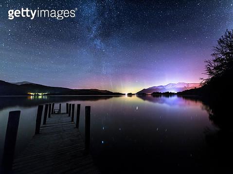 Derwent Water Aurora Borealis, Lake District. - gettyimageskorea