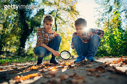 Little boys playing with magnifying glass on the city park path. They use it for focus the sunlight on autumn leaves and watch them heat up and start to smoke. Nikon D850. - gettyimageskorea
