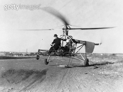 IGOR IVAN SIKORSKY /n(1889-1972). American (Ukrainian-born) aeronautical engineer. Sikorsky with his VS-300 helicopter during its first test flight. Photograph, 14 September 1939. - gettyimageskorea
