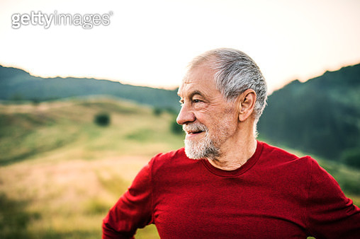 A portrait of an active senior man outdoors in nature. Copy space. - gettyimageskorea