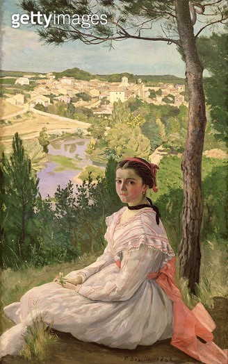 <b>Title</b> : View of the village, Castelnau, 1868 (oil on canvas)<br><b>Medium</b> : oil on canvas<br><b>Location</b> : Musee Fabre, Montpellier, France<br> - gettyimageskorea