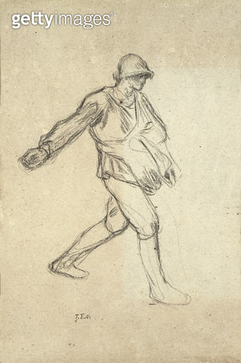 <b>Title</b> : Study for 'The Sower' (charcoal on paper)<br><b>Medium</b> : <br><b>Location</b> : Private Collection<br> - gettyimageskorea