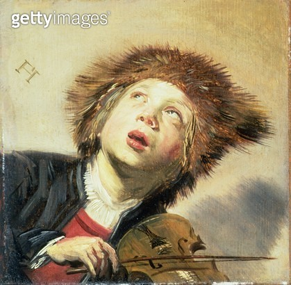 <b>Title</b> : A Boy with a Viol (oil on panel) (pair of 133733)<br><b>Medium</b> : oil on panel<br><b>Location</b> : Private Collection<br> - gettyimageskorea