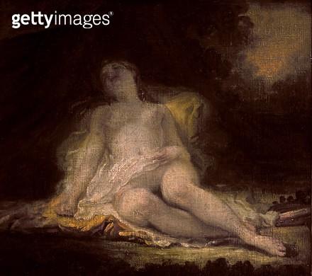 <b>Title</b> : Sleeping Bacchante (oil on canvas)<br><b>Medium</b> : oil on canvas<br><b>Location</b> : Louvre, Paris, France<br> - gettyimageskorea