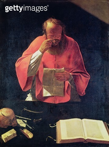 <b>Title</b> : St.Jerome reading (oil on canvas)<br><b>Medium</b> : oil on canvas<br><b>Location</b> : Louvre, Paris, France<br> - gettyimageskorea