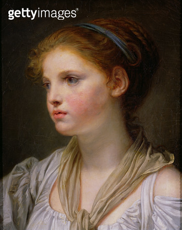 <b>Title</b> : Girl with a Blue Ribbon (oil on canvas)<br><b>Medium</b> : oil on canvas<br><b>Location</b> : Musee des Beaux-Arts, Rennes, France<br> - gettyimageskorea