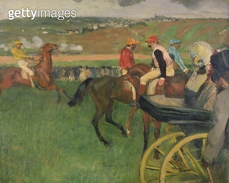 <b>Title</b> : The Race Course - Amateur Jockeys near a Carriage, c.1876-87 (oil on canvas)<br><b>Medium</b> : oil on canvas<br><b>Location</b> : Musee d'Orsay, Paris, France<br> - gettyimageskorea