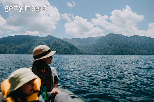Nikko National Park seen from kayak on Lake Chuzenji with mother and child - gettyimageskorea