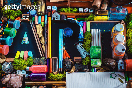 ART letters made out of tiny objects, artist tools, props, and moss, creativity and inspiration concept - gettyimageskorea