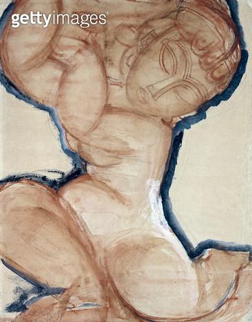 <b>Title</b> : Pink Caryatid with a Blue Border, c.1913 (w/c on paper)<br><b>Medium</b> : watercolour on paper<br><b>Location</b> : Perls Galleries, New York, USA<br> - gettyimageskorea