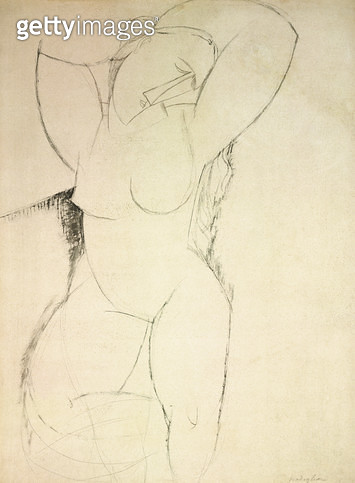 <b>Title</b> : Caryatid, c.1913-14 (pen & ink on paper)<br><b>Medium</b> : pen and ink on paper<br><b>Location</b> : Perls Galleries, New York, USA<br> - gettyimageskorea