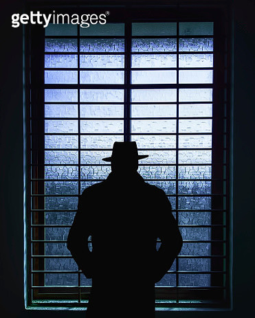 Rear View Of Silhouette Man Standing Against Window - gettyimageskorea