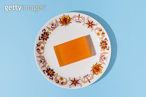 Homemade soap bar made of glycerine on a plate - gettyimageskorea