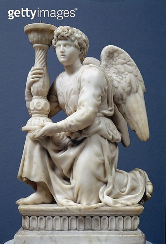 <b>Title</b> : Angel Holding a Candelabra, 1495 (marble)<br><b>Medium</b> : <br><b>Location</b> : Church of San Domenico, Bologna, Italy<br> - gettyimageskorea