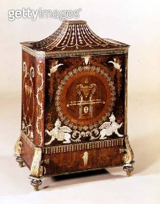 George III neo-classical side cabinet/ inlaid with ivory/ with ormolu mounts/ attributed to Matthew Boulton/ English/ c.1775 - gettyimageskorea