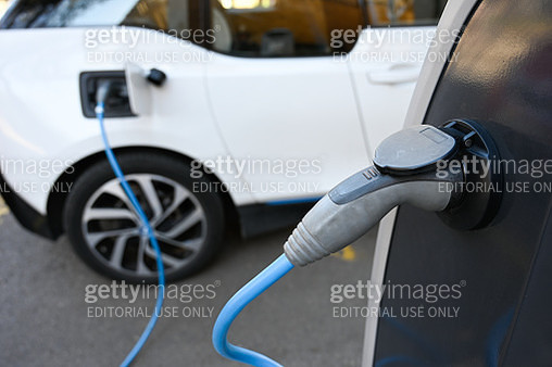 Electric charging point on the street  for electric cars - gettyimageskorea