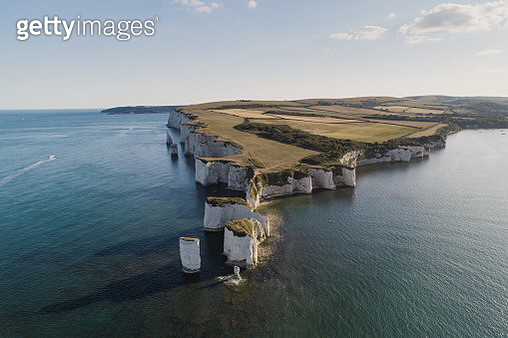 Drone shot at sunset showing Old Harry Rocks, Dorset, England, United Kingdom - gettyimageskorea