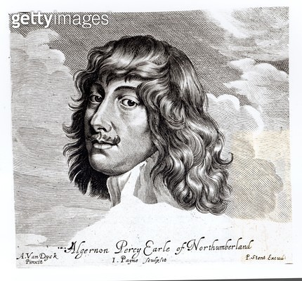 <b>Title</b> : Portrait of Algernon Percy, Tenth Earl of Northumberland (1602-1668), engraved by John Payne (fl. 1608-48) (engraving) (b/w phot<br><b>Medium</b> : <br><b>Location</b> : Private Collection<br> - gettyimageskorea